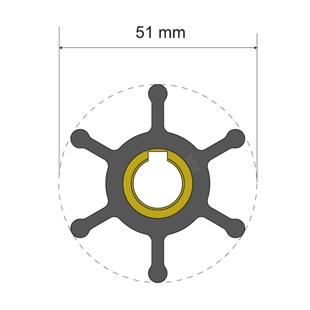 Albin Pump Premium Impeller Kit - 51 x 12.7 x 22mm - 6 Blade - Key Insert CD-77966
