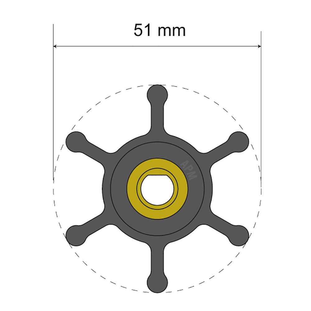 Albin Pump Premium Impeller Kit - Oil Resistant Nitrile Impeller - 51 x 8 x 22mm - 6 Blade - Single Flat Insert CD-77968
