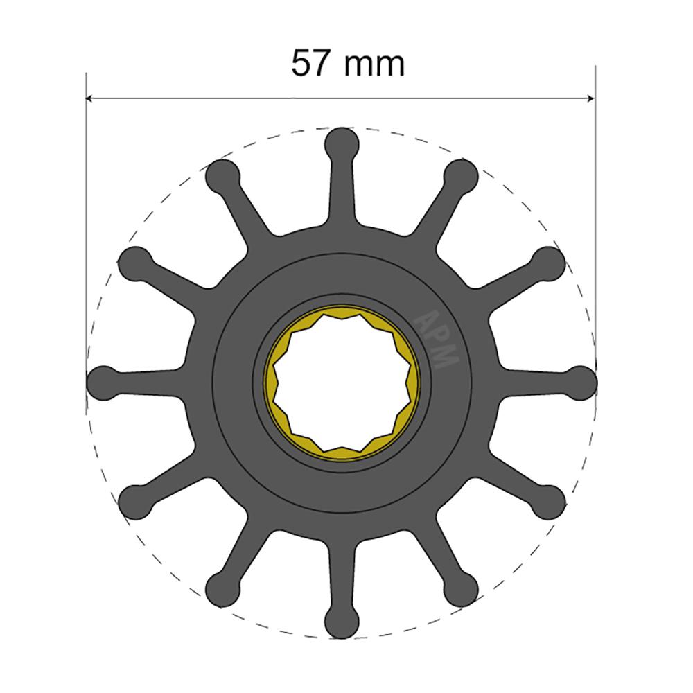 Albin Pump Premium Impeller Kit 57 x 16 x 48.2mm - 12 Blade - Spline Insert CD-77973
