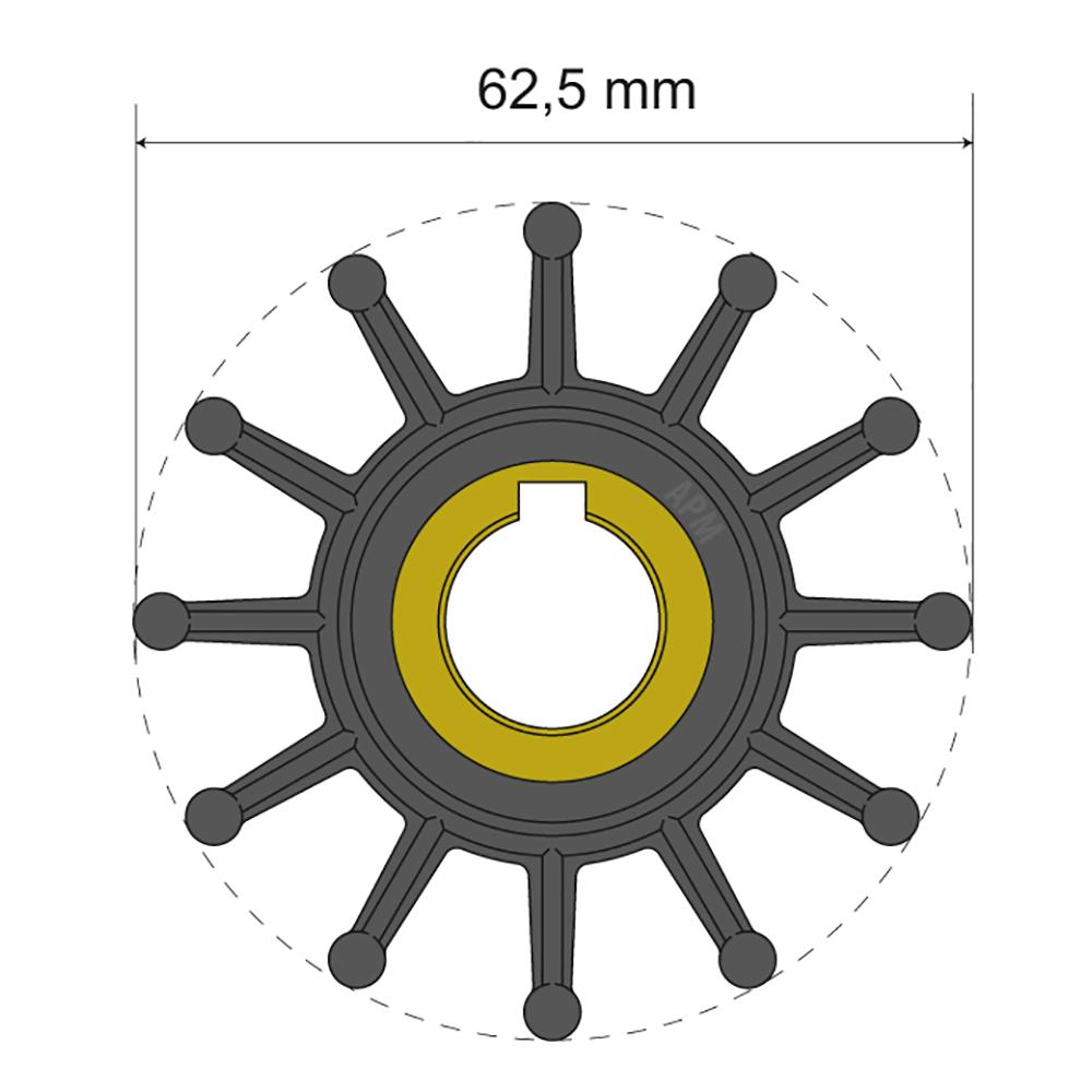 Albin Pump Premium Impeller Kit 62.5 x 16 x 32mm - 12 Blade - Key Insert CD-77975