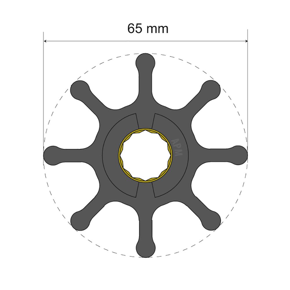 Albin Pump Premium Impeller Kit 65 x 16 x 37mm - 8 Blade - Spline Insert CD-77976