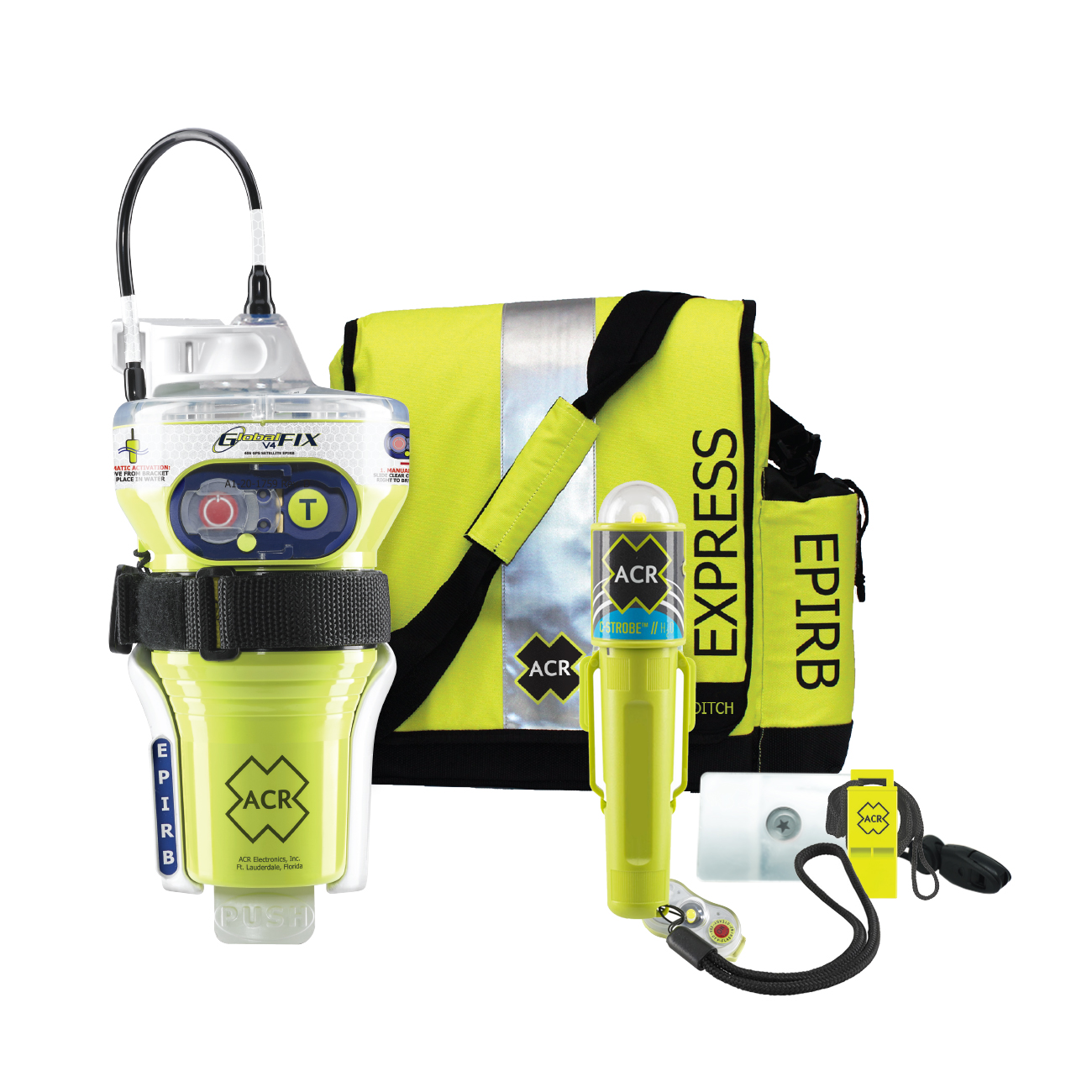 ACR GlobalFix™ V4 Category 2 w/Rapid Ditch Bag, C-Strobe, H2O Signal, Mirror, Rescue Whistle Survival Kit CD-84307