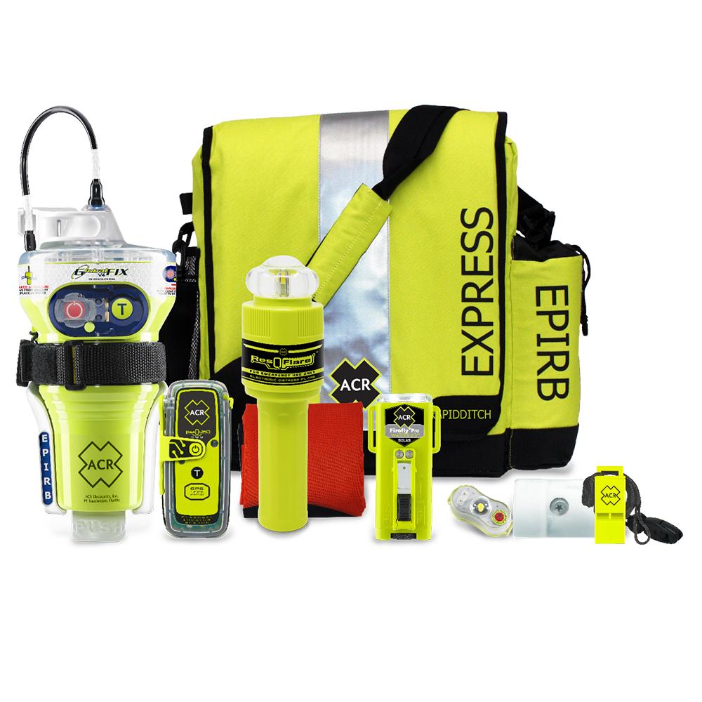 ACR GlobalFix V4 EPIRB & ResQLink 400 PLB Survival Kit w/Rapid Ditch Bag, Firefly PRO, Signal Mirror, Whistle, HemiLight, Flare & Flag CD-85865