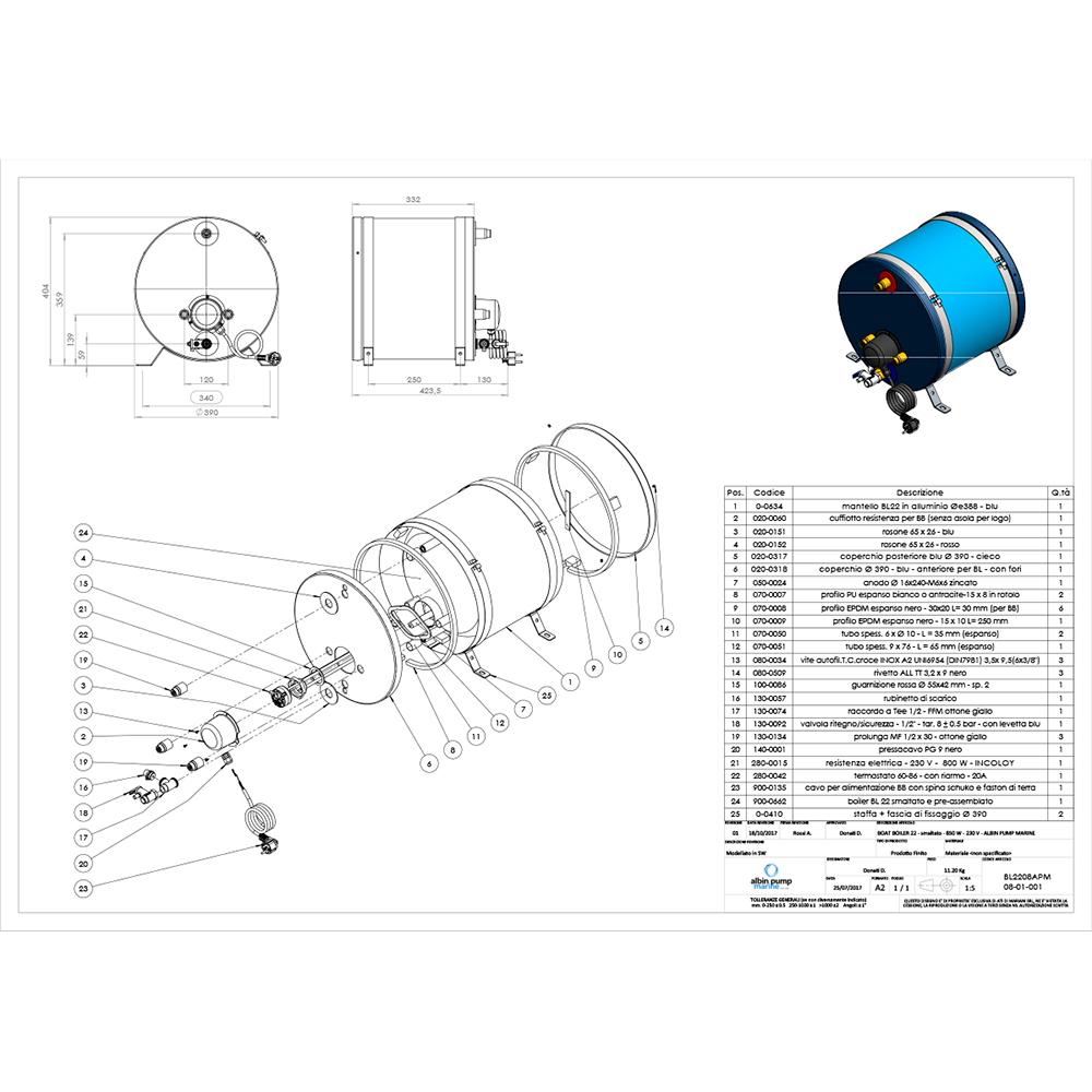 Albin Pump Marine Premium Water Heater 22L - 230V