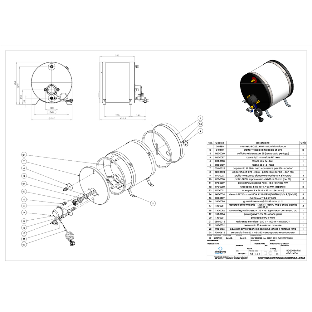 Albin Pump Marine SS Water Heater 22L - 230V