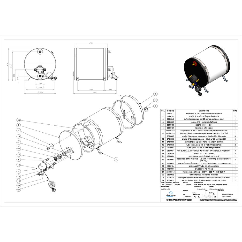 Albin Pump Marine SS Water Heater 30L - 230V