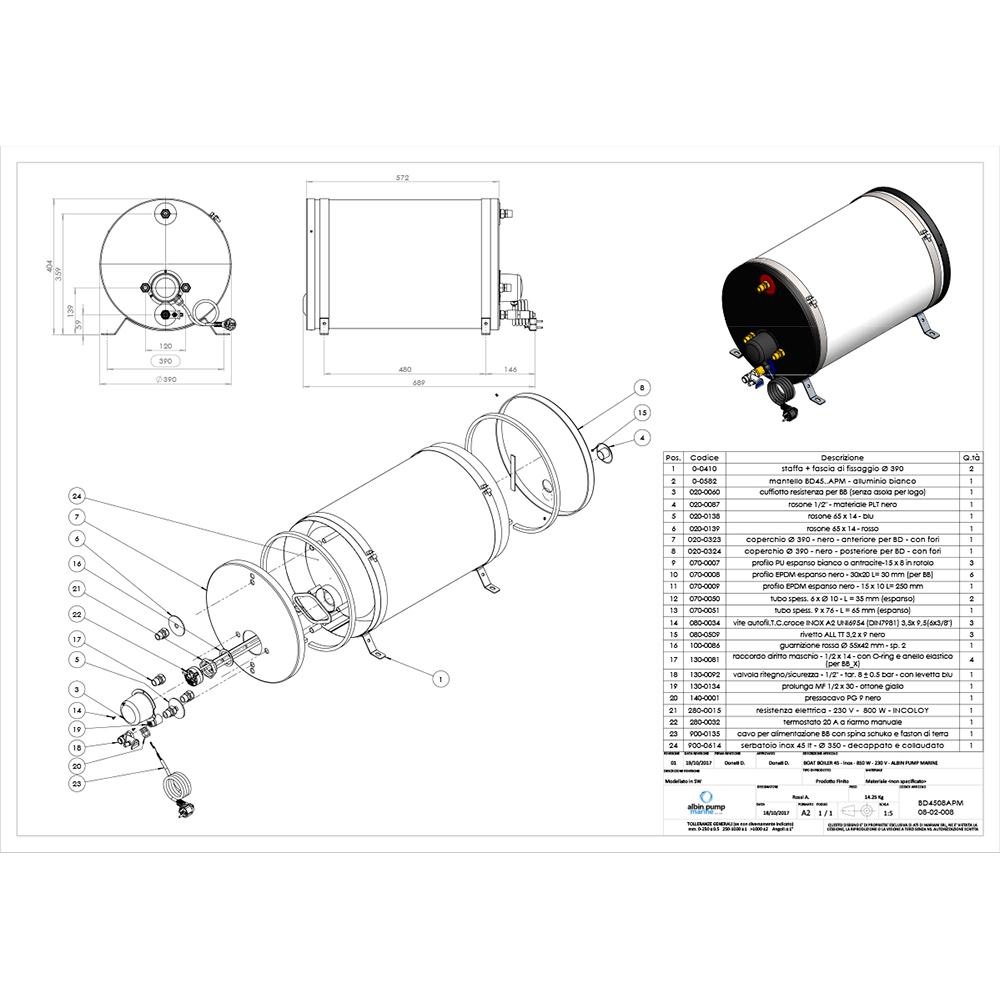 Albin Pump Marine SS Water Heater 45L - 230V
