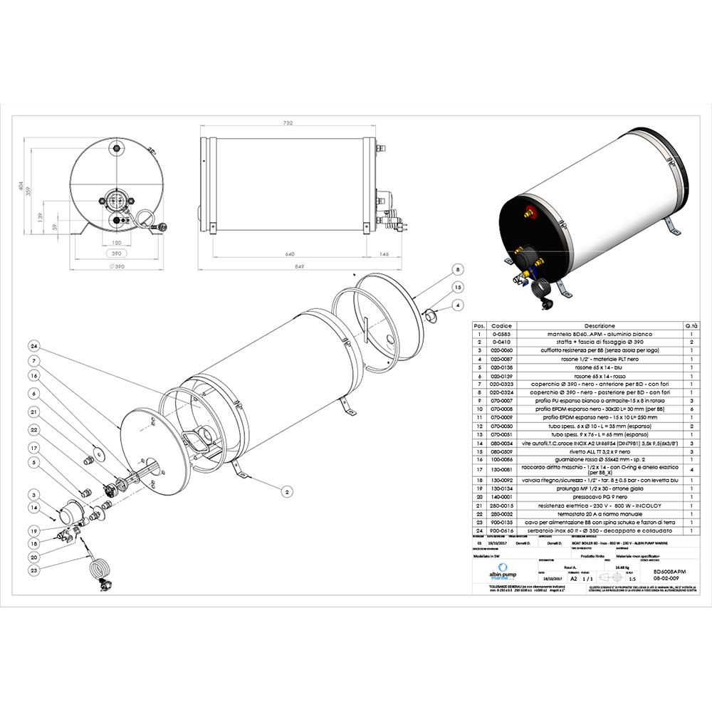 Albin Pump Marine SS Water Heater 60L - 230V