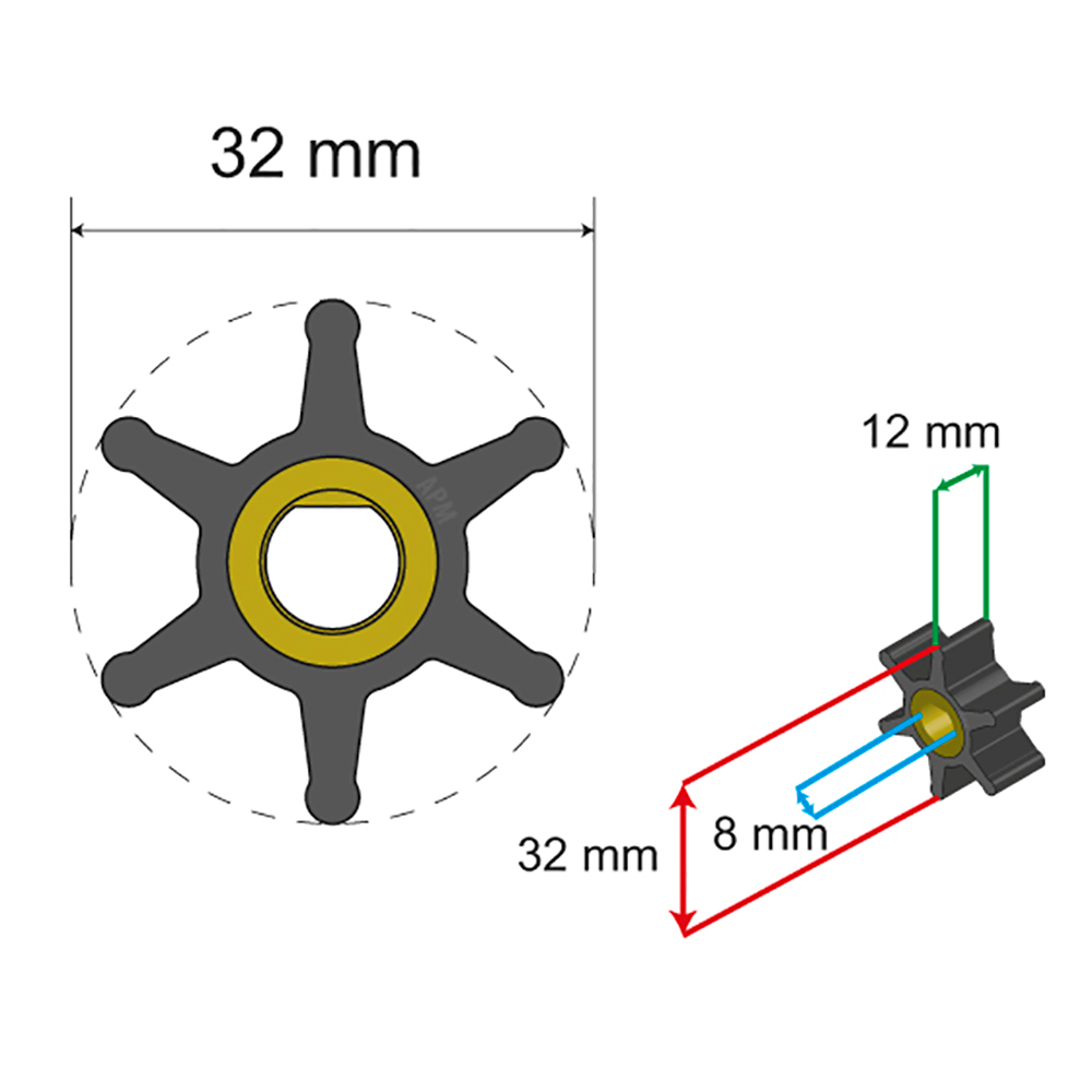 Albin Pump Premium Impeller Kit - 32 x 8 x 12mm - 6 Blade - Single Flat Insert