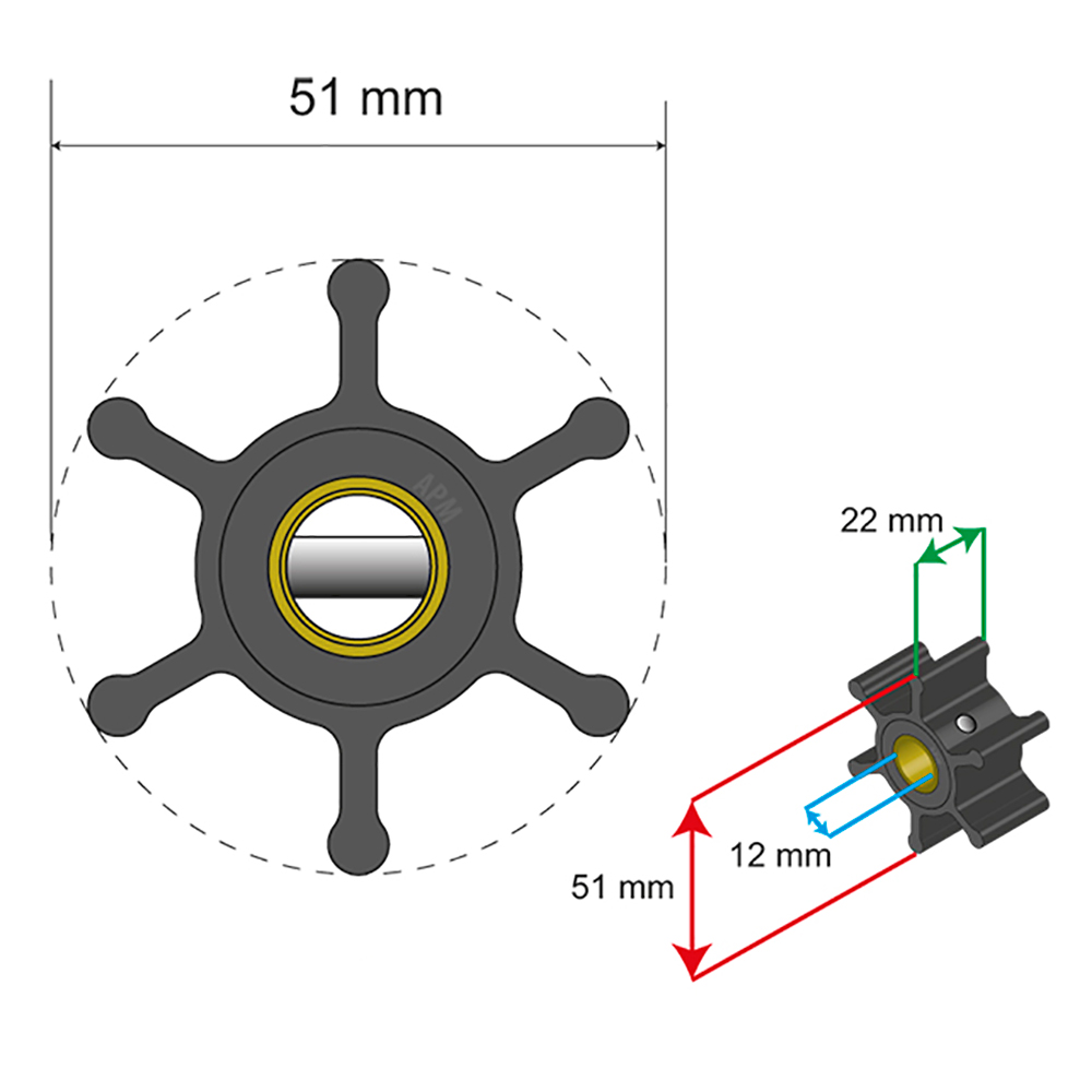 Albin Pump Premium Impeller Kit - 51 x 22 x 12mm - 6 Blade - Pin Insert