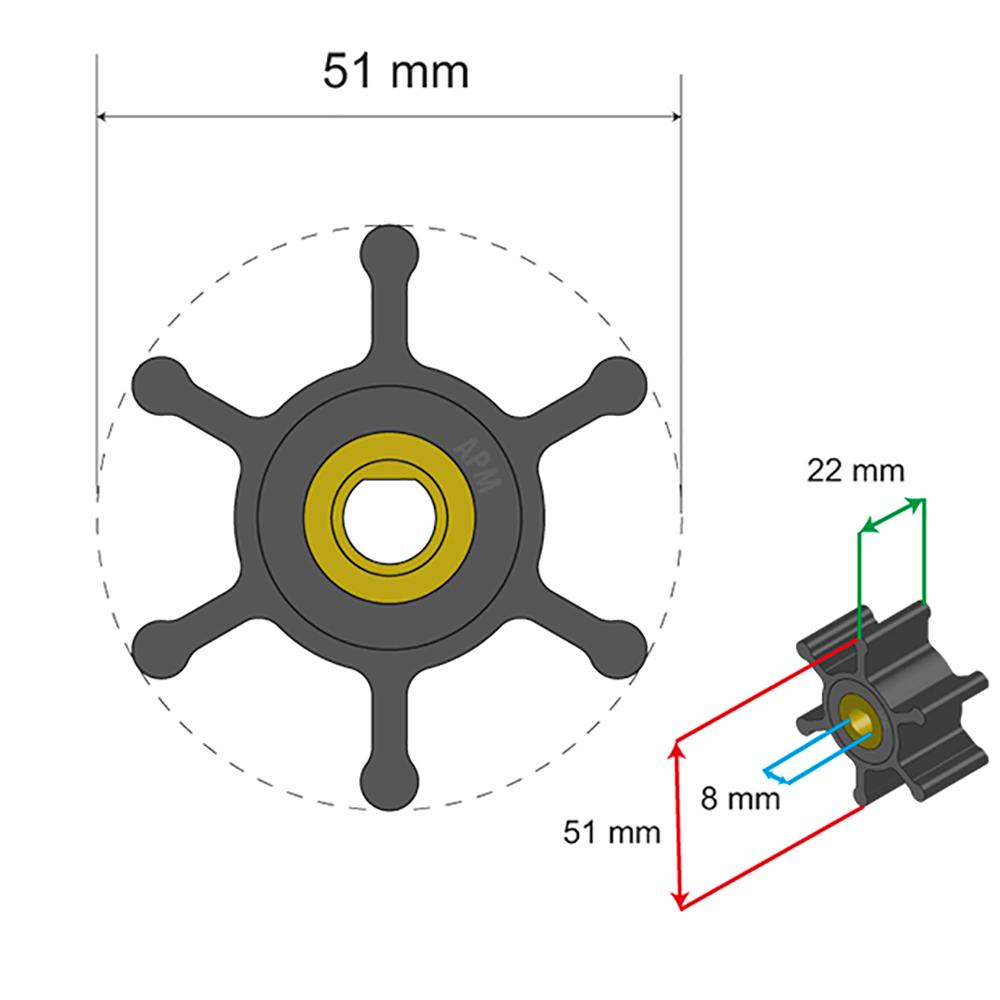 Albin Pump Premium Impeller Kit - Oil Resistant Nitrile Impeller - 51 x 8 x 22mm - 6 Blade - Single Flat Insert