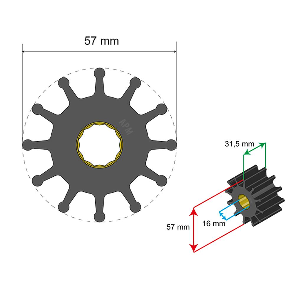 Albin Pump Premium Impeller Kit 57 x 16 x 31.5mm - 12 Blade - Spline Insert