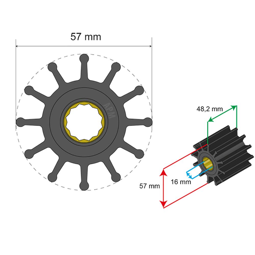 Albin Pump Premium Impeller Kit 57 x 16 x 48.2mm - 12 Blade - Spline Insert