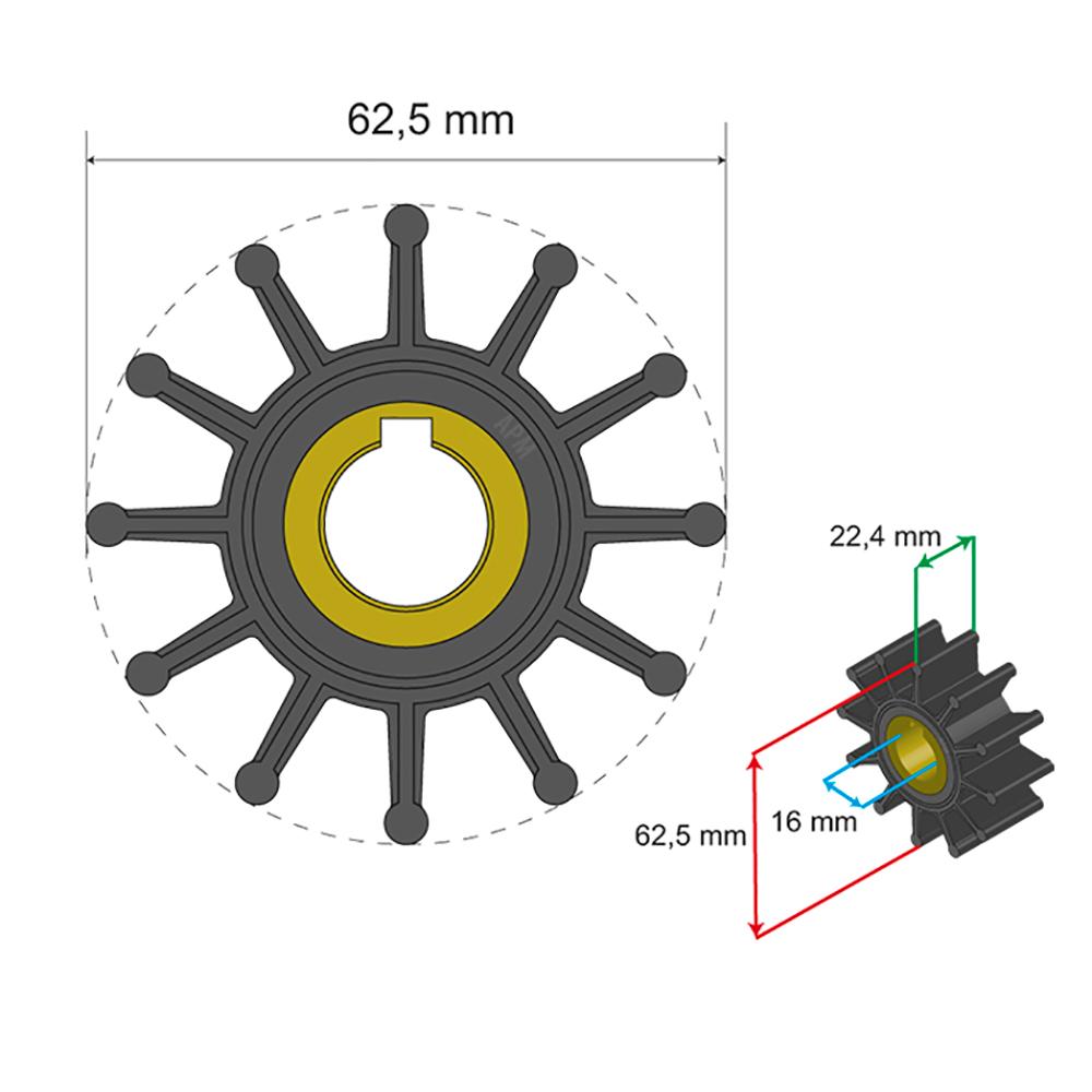 Albin Pump Premium Impeller Kit 62.5 x 16 x 22.4mm - 12 Blade - Key Insert