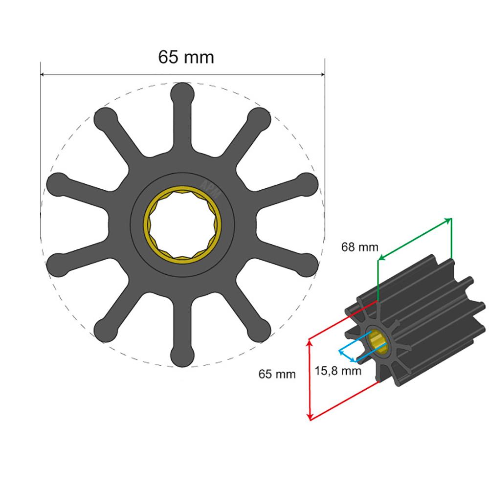 Albin Pump Premium Impeller Kit 65 x 15.8 x 68mm - 10 Blade - Spline Insert