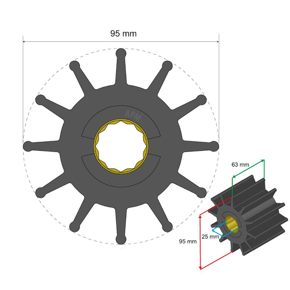 Albin Pump Premium Impeller - 95 x 25 x 63mm - 12 Blade - Spline Insert