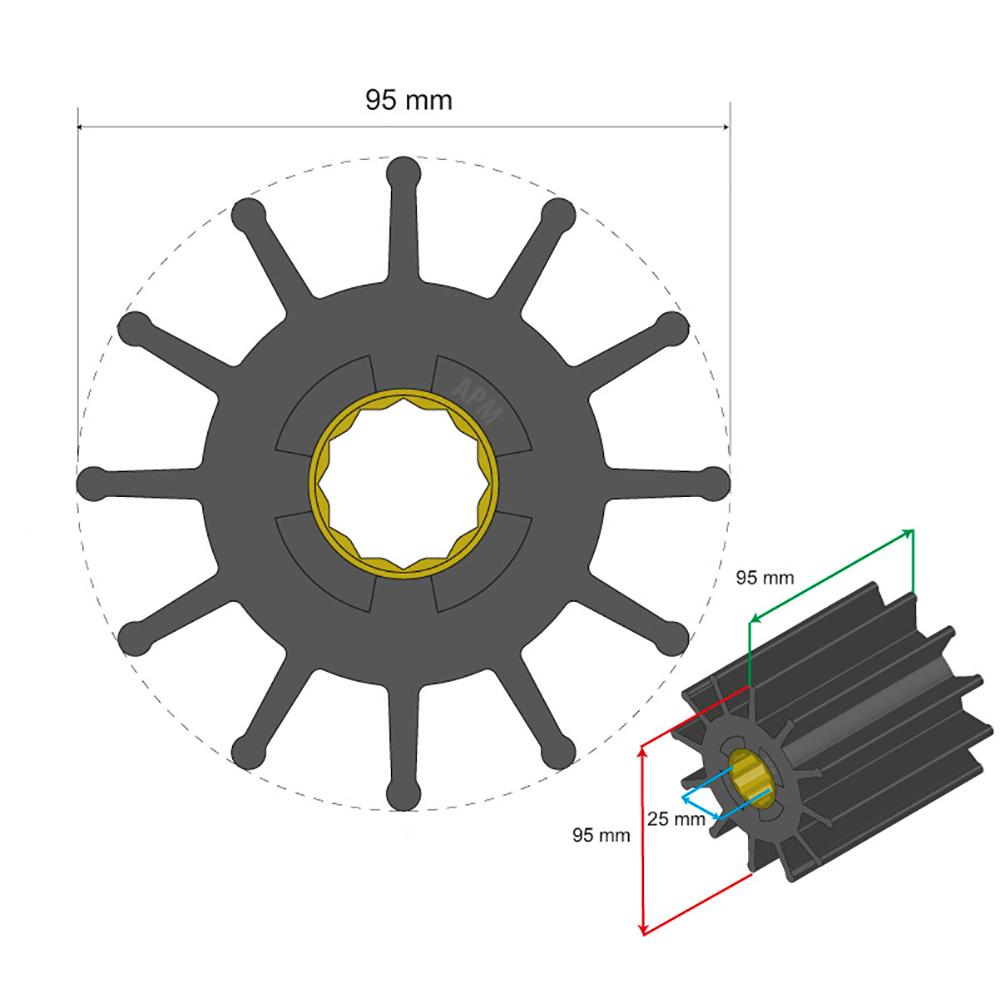 Albin Pump Premium Impeller Kit 95 x 25 x 95mm - 12 Blade - Spline Insert